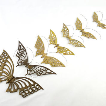 Vintage Solid Brass Butterfly Wall Hangings Butterfly Swarm Set of 7 Meditation Yoga Room Decor Woodland Wildlife Wall Decor Zen Accents