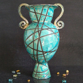 Raku ceramic vase classical / ancient form - turquoise gold
