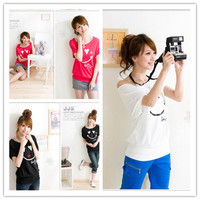 Women : Smiling face printed cotton bat sleeve tees short sleeve T-shirt round collar top final clearance ghl0182