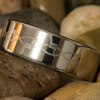 Tungsten Ring 8mm Pipe Barbwire Design