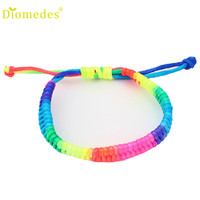 Hot Women Girl Adjustable Rainbow Fluorescent Colors Woven Bracelet jewelry online shopping india Drop Shipping S22