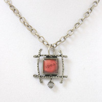 """Simple Brushed Silver and Red """"Speak"""" Word Pendant with Black Diamond Swarovski Crystal - Handmade Necklace Jewelry - Ready to Ship"""