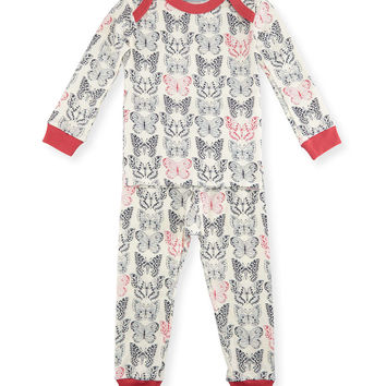 Butterfly Pajama Shirt & Pants, White/Black/Pink, Size 2T-8,