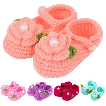 Cute Newborn Baby Girls Shoes Infant Toddler Princess First Walkers Kid Soft Soled Shoe Flower Knitting Shoes Footwear