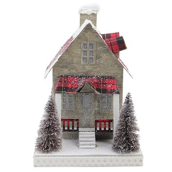 """10"""" Holiday Moments Lit with LED Tartan House Christmas Decoration - Warm White Lights"""