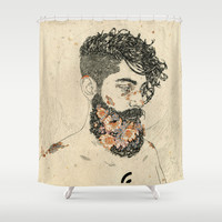 St Lazarus Shower Curtain by NVM Illustration