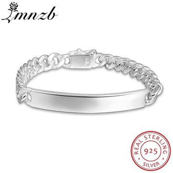 LMNZB Fashion Jewelry 100% Solid 925 Sterling Silver Charm Bracelets Cuff Bangles Wedding Jewelry For Men Women LH182