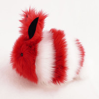 Red and White Striped Bunny Faux Fur Stuffed Animal Toy Plushie - Large Size