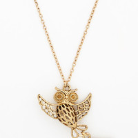 ModCloth Owls Blast from the Post Necklace