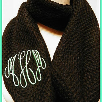 Monogrammed Fine Knit Crochet Chunky Infinity Scarf Black Master Circle Interlocking Cowl