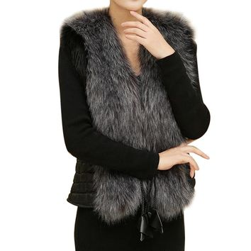 Female Fur Vest New Women Winter Waistcoat Real Leather Fur Coat Vest Jacket Sleeveless Outerwear Faux Fur casaco feminino