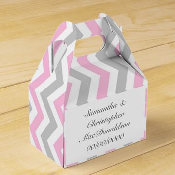 Pink grey and white chevron wedding favor box
