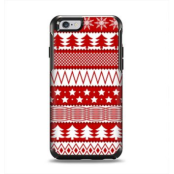 The Red and White Christmas Pattern Apple iPhone 6 Otterbox Symmetry Case Skin Set