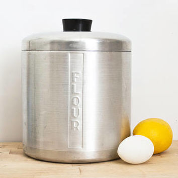 Vintage Replacement Spun Aluminum Flour Canister, Heller Hostess Ware Kitchen Storage Container