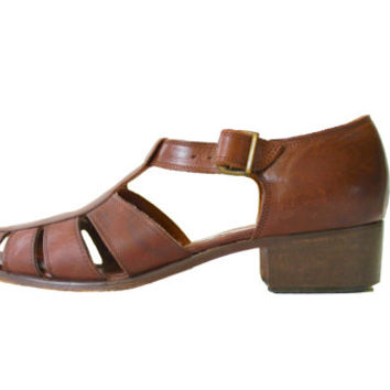 Italian Leather Sandals High Heeled Strappy Brown Nordstrom 90s Vintage Hipster Boho Womens Size US 7.5 UK 5.5 EUR 38