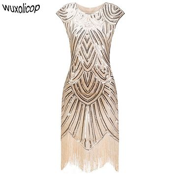 Vintage 1920s Flapper Great Gatsby Dress O-Neck Cap Sleeve Sequin Fringe Party Midi Dress 2017 Summer Women Vestido De Festa