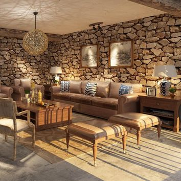 Vintage Rustic 3d Stereo Stone Wall Paper Roll Restaurant Coffee Shop Living Room Background Decor Vinyl PVC Wallpaper 10M