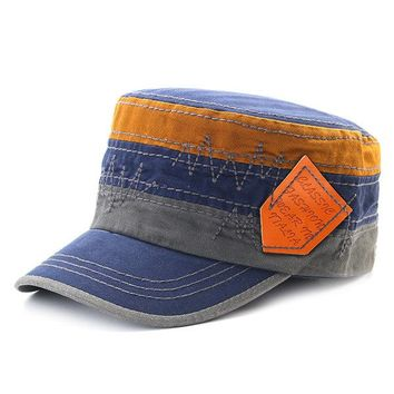 Embroidery Cotton Military Cap Travel Leisure Flat Top Hat