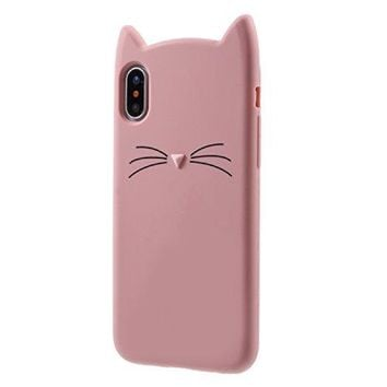 Cat iPhone X Case, Miniko(TM) Cute Kawaii Funny 3D Pink MEOW Party Bread Cat Kitty Whiskers Protective Soft Rubber Case Skin for Apple iPhone X 2017 Teen Girls Women Girly Kid