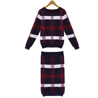 Long Sleeve Grid Knit Slim Two-Piece Outfits
