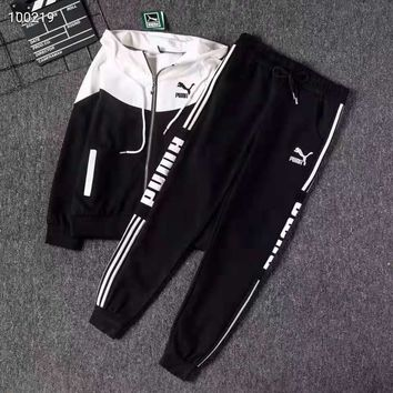 """"""" PUMA"""" Woman's Leisure Fashion Letter Personality Printing Zipper  Spell Color Long Sleeve Hooded Tops Trousers Two-Piece Set Casual Wear"""