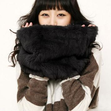 PEAPON FASHION MULTICOLOR FUR COLLAR WARM SCARF
