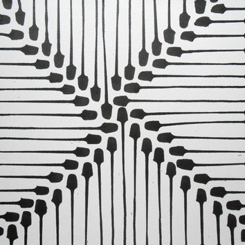 "14 x 14 Geometric Modern Abstract Black and White Ink Painting "" Heikkinen 732"""