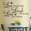 """""""LIVE LAUGH LOVE"""" Wall Quote Stickers Removable Vinyl Decal Home Art Decoration (Size: 25cm by 70cm, Color: Black)"""