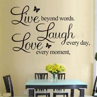 """LIVE LAUGH LOVE"" Wall Quote Stickers Removable Vinyl Decal Home Art Decoration (Size: 25cm by 70cm, Color: Black) = 1946451012"