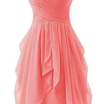 TDHQ Women's Bridesmaid Party Ball Dress Short Strapless Chiffon Sweetheart Prom Gown