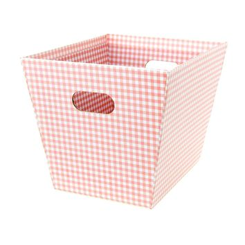 Cardboard Paper Market Tray, Gingham Pink, 8-1/2-Inch