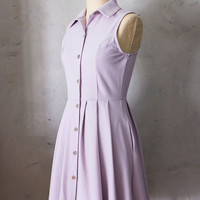 50% OFF SALE / Mona Lilac Lavender purple collar shirt dress / pockets / full pleated skirt / buttons / vintage inspired / day / retro