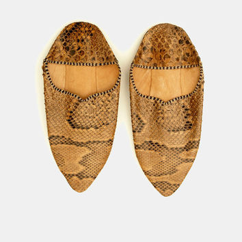 Vintage snakeskin leather moroccan slippers babouches Medium