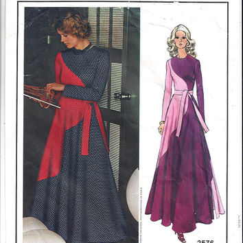 Vogue 2576 Paris Original Lanvin Designer Pattern for Misses' Long At Home Dress, Size 10, From 1970s, Vintage Pattern, Home Sewing Pattern