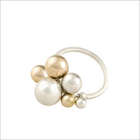 EMMY: Contemporary Silver and Gold Bauble Ring