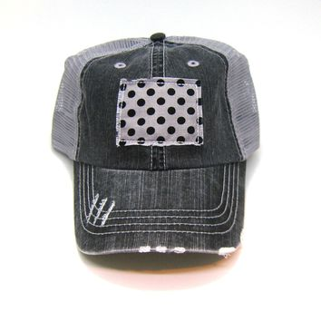 Wyoming Trucker Hat - Distressed - Floral Fabric State Cutout