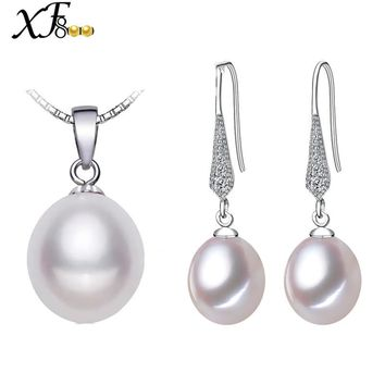 [XF800] Pearl Jewelry 925 Sterling Silver Jewelry Natural Freshwater Pearl Jewerly Set Real Pearl Pendant Earrings FineE1058