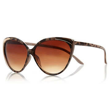 River Island Womens Brown tortoise shell cat eye sunglasses