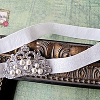 Baby Headband Crown and  white glitter by TheBabyBellaBoutique