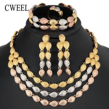 CWEEL Luxury Big Nigerian Jewelry Sets For Women Wedding Three Layer African Beads Jewelry Set Bridal Costume Jewellery Set