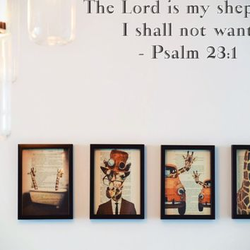 The Lord is my shepherd I shall not want - Psalm 23:1 Style 17 Vinyl Decal Sticker Removable