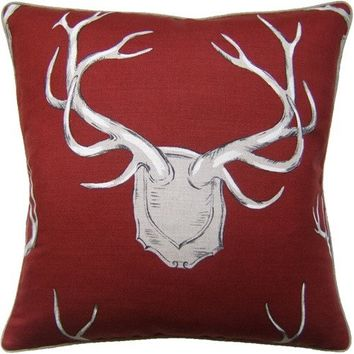 Antlers Red Pillow