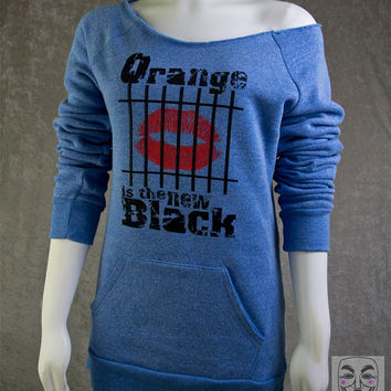ORANGE Is The NEW BLACK oitnb Woman's shirt - Off The Shoulder Slouchy Maniac Sweater Alternative Apparel Light Blue