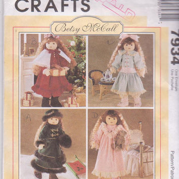 """Pattern for Betsy McCall/18"""" doll Victorian Era winter holiday wardrobe including fur trimmed coat, hat, muff McCall's 7934 CUT and COMPLETE"""