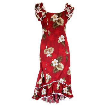 Lava Red Hawaiian Meaaloha Muumuu Dress with Sleeves