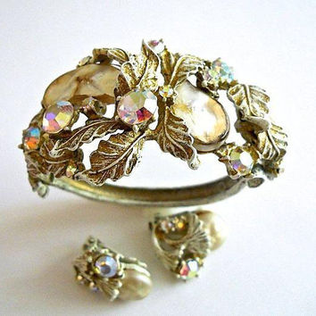 Baroque Pearlized Dragon Tooth HAR Bracelet & Earrings Set, Enamel Floral, ABs, Signed Vintage Rare