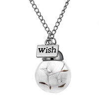 Glass bottle necklace Natural dandelion seed in glass long necklace Make A Wish Glass Bead Orb silver plated Necklace  jewelry -0330
