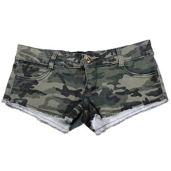 Encounter Women's Camouflage Denim Low Waist Jeans Shorts Pants