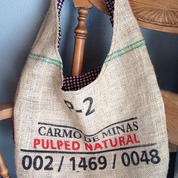 Burlap Coffee Sack Tote - Shoulder Market Tote - Burlap Bag