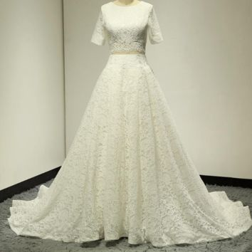 Lace Crop Top Wedding Dresses Short Sleeve Round Neck Ball Gown